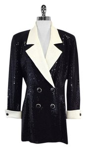 St. John Long Black Cream Sequined Jacket