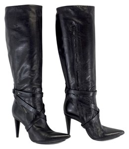 CoSTUME NATIONAL Black Leather Strap Boots