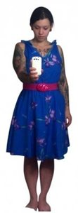 Other short dress Blue Flor Floral Knee Length Retro Silk on Tradesy
