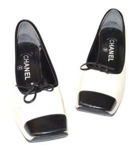 Chanel Heels Flats Leather Bow Cream/Black Wedges