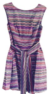 Shoshanna Belted Striped Sleeveless Dress
