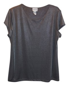 Chico's Travelers Knit Metallic Top Gray