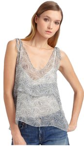 Patterson J. Kincaid Sheer Tank Floral Top Blue, Ivory