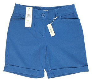 Jones New York Mini Cuffed Woven Twill Pockets Mini/Short Shorts Blue