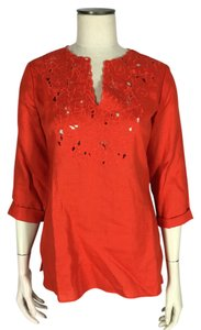 Jones New York Split V-neck Linen Cut-out Top Orange