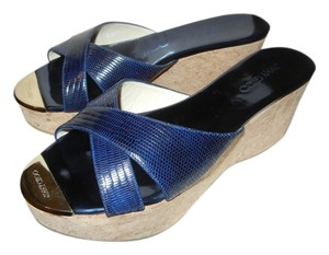 Jimmy Choo Sandals Leather Cork Prima Blue Navy Blue Wedges