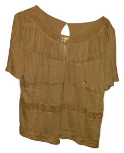 American Eagle Outfitters Lace Flowy Comfortable Swing Keyhole T-shirt Detail Top Beige