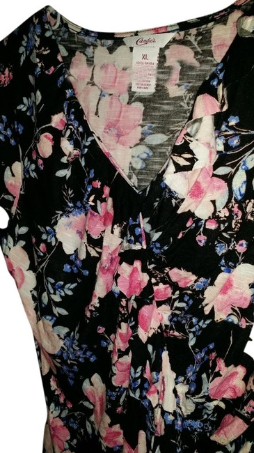 Candie's Stretchy Ruffle Floral Fitted V-neck Comfortable Top Black Floral