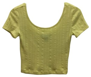 Forever 21 Crop Textured T Shirt Yellow