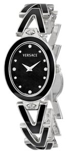 Versace VERSACE V-Glam Black Diamond Dial Steel and Black Enamel Ladies Watch 60QE9SD009-SE09