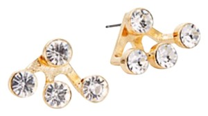Cära Couture Jewelry Front-Back, Bezel-Set Four Stone Earrings