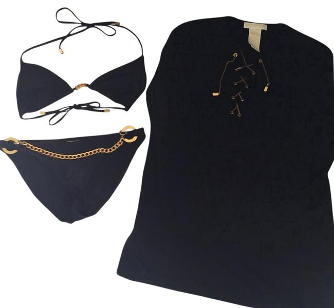 Item - Black and Gold With Cover-up Bikini Set Size 10 (M)