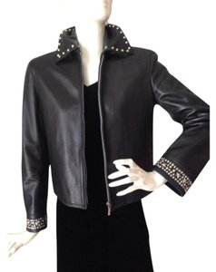 Versace Vintage Moto Black Leather Leather Jacket