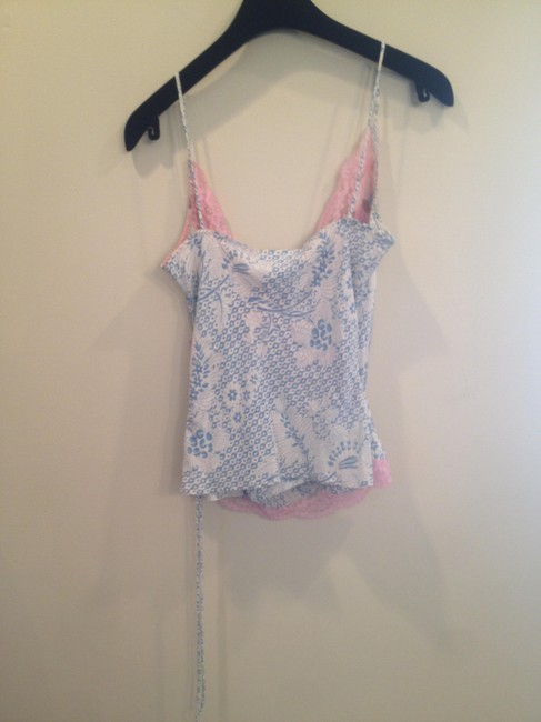 Tracy Reese 100%silk Spaghettistrap Size2 Alluring V-neck Silky Flowy Top Pink & Blue with Pink lace