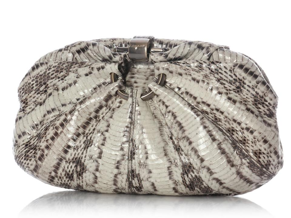 2f649cb28a3a Salvatore Ferragamo Limited Edition Gray Snakeskin Leather Clutch ...