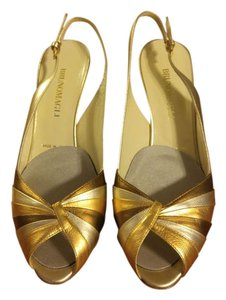 Bruno Magli Slingback Peep Toe Metallic Silver, gold, bronze Sandals