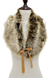 Brown Fur Wrap Collar Stole Shrug Scarf Neckwarmer