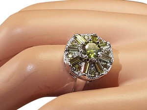 Other Radiant Peridot Silver Filled Statement Rings Size 7.5