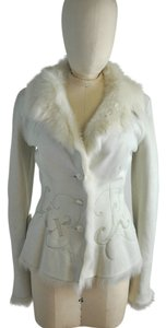 Knight Nigel Preston & Ivory Sheepskin Short Suede Jacket Embroidery Size Xs Fur Coat