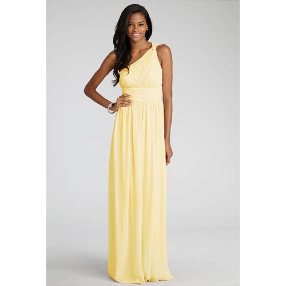Donna Morgan Lemon Chiffon Formal Bridesmaid Mob Dress Size 6 S