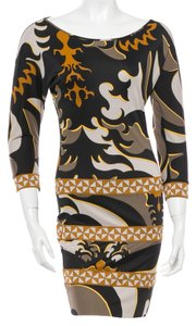 Emilio Pucci V-neck Multicolor Summer 3/4 Sleeve Longsleeve Silk Belted Logo Monogram Red Multicolore New Abstract M Medium L 8 S Dress