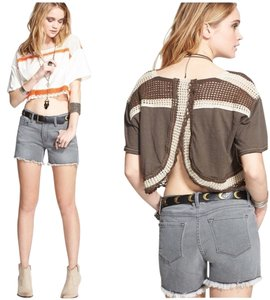 Free People Top Brown & White