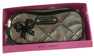 Betsey Johnson Cosmetic Taupe/ black Travel Bag
