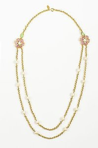Chanel Vintage Chanel Gold Tone Pink Green Gripoix Faux Pearl Flower Chain Necklace