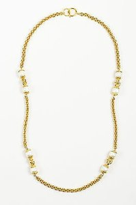 Chanel Vintage Chanel Gold Tone Faux Pearl Single Strand Long Chain Necklace