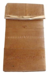 Other NEW Genuine EEL SKIN Leather Pop Up Style Cigarette Case. Metal Frame tan
