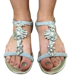 Jimmy Choo Silver gray suede and rhinestones Sandals