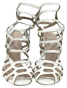 Public Desire Satine Caged Caged Heels White, Black Sandals