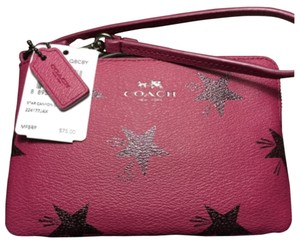 Coach Wristlet in Cranberry/Shimmery Stars/Antque Nickel Accents