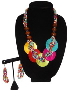 Multi/Wood Bead and Braided Seed Bead Necklace Set