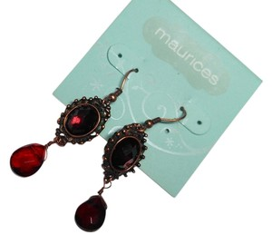 Maurices New Maurices Burgundy Copper Crystal Dangle Earrings Long J2174