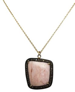Independent Clothing Co. Pink Opal Pendant with Pave Diamonds