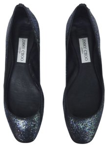 Jimmy Choo Witty Logo Glitter BLACK Flats