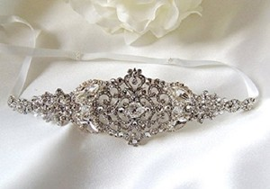 Kate Wedding Bridal Headpiece Crystal Headband Headpiece Satin Ribbon Rhinestone Headband Side