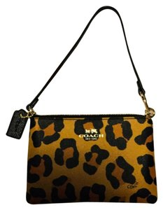 Coach Wristlet in Multi Color Ocelot In Gold, Tan And Black