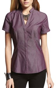 Express Iridescent Striped Chain Button Down Shirt Purple