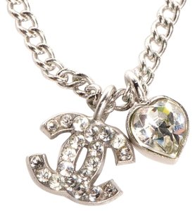 Chanel Chanel Necklace Pendant CC Logo Crystal Swarovski Silver Metal Hardware Shw Classic Timeless Authentic A26195