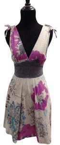 Free People short dress Gray/Purple Floral Boho Bohemian on Tradesy