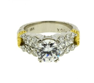 Michael Kors Beautiful Diamond Engagement Ring By Mk In Platinum & 18k Fits 1.5 To 2ct Diamond Size 6.5