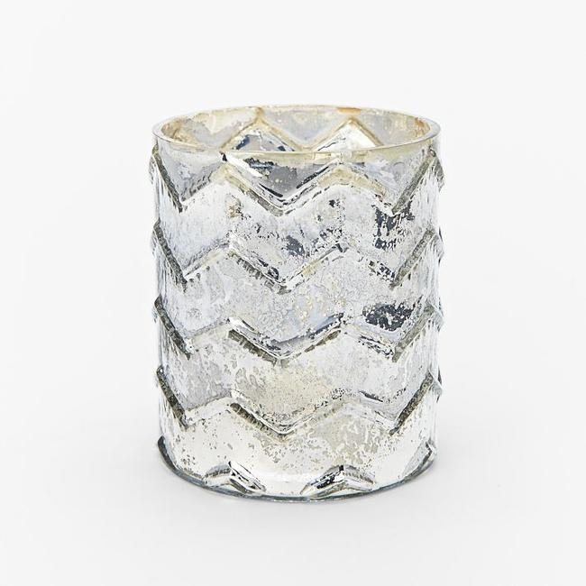 Item - Mercury Silver Pattern Chevron Votive/Candle