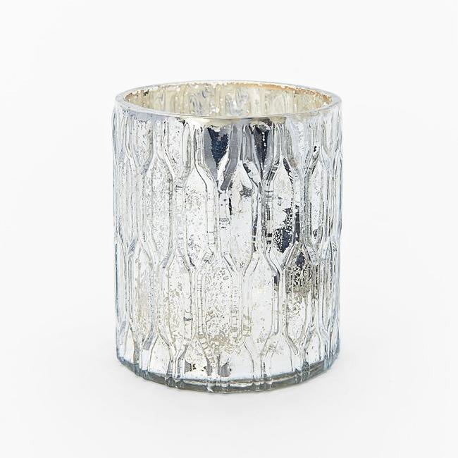 Item - Mercury Silver Patterned Honeycomb Votive/Candle