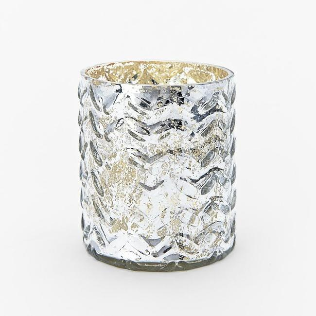 Item - Mercury Silver Patterned Herringbone Votive/Candle