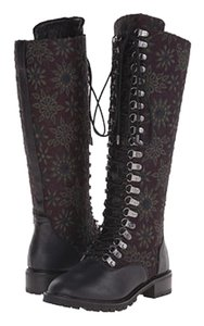 Alice + Olivia Brown Plum Floral Boots