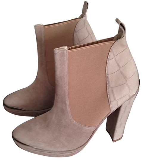 Opening Ceremony Leather Suede Platform Slip On Pump Taupe/Lt Grey Boots