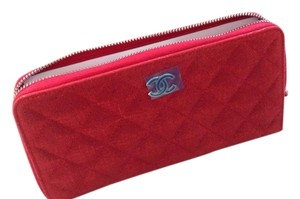 Chanel Chanel Red Metallic Quilted Zip-Around Wallet