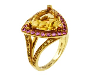 Mauboussin multi colored sapphire, diamond & citrine ring in 18k gold size 6.75